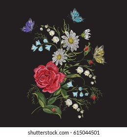 Embroidery trend floral pattern with butterfly. Vector traditional folk roses, lilies and forget me not flowers bouquet on black background for clothing design