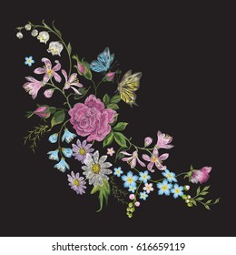 Embroidery trend floral pattern with butterfly. Vector traditional folk roses, lilies and forget me not flowers bouquet on black background for clothing design.
