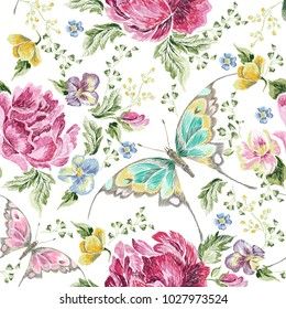 Embroidery trend floral seamless pattern with roses, violets and butterflies. Vector traditional folk flowers decor on white background for clothing design.