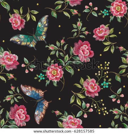 Embroidery Trend Floral Seamless Pattern Roses Stock-Vektorgrafik ...