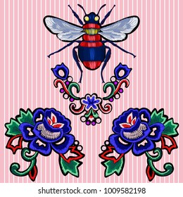 Embroidery trend patches with roses and bee. Vector embroidered flowers elements for fashion design.