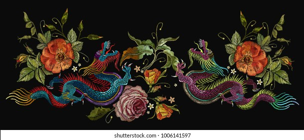 Embroidery two chinese dragons, roses and peonies flowers. Classical asian dragons and beautiful red roses vector. Clothes, textile design template
