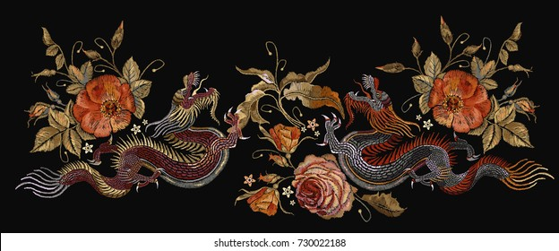 Embroidery two chinese dragons and roses flowers. Classical embroidery asian dragons and beautiful red roses vector. Art dragons t-shirt design. Clothes, textile design template