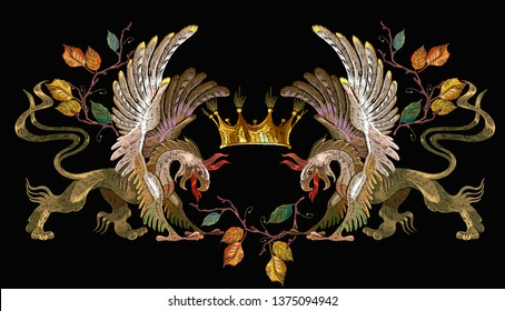 Embroidery two griffins and golden crown. Medieval concept. Gothic tapestry renaissance art. Template for clothes, t-shirt design