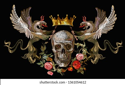 Embroidery two griffins, skull and flowers. Medieval art. Template for clothes, t-shirt design. Gothic tapestry renaissance style