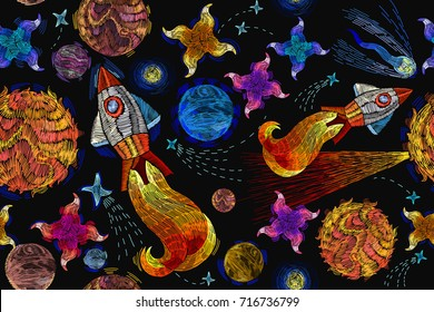 Embroidery universe seamless pattern. Childish background t-shirt design. Rocket, planet, solar system, galaxy. Space embroidery, planet and space rockets