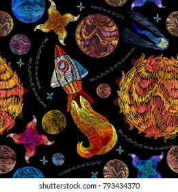 Embroidery universe seamless pattern. Rocket, planet, solar system, galaxy. Space embroidery, planet and space rockets. Childish background t-shirt design
