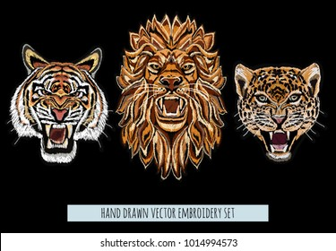 Embroidery vector colorful pattern set with lion, japanese tiger, leopard. Vector traditional folk fashion ornament on black background.