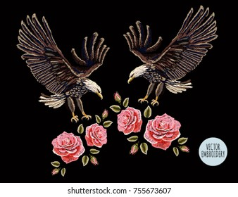 Embroidery vector colorful pattern set with eagles and roses. Vector traditional folk fashion ornament on black background.
