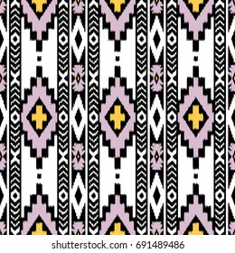 Embroidery vector design. Seamless retro color pattern in tribal style. Traditional ethnic folk motif. Aztec ikat vector background. Abstract geometric art print. hand drawn. Textile design