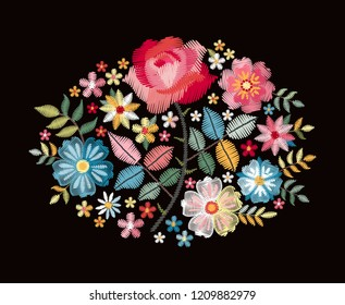 Embroidery vector pattern. Bouquet with colorful flowers and leaves. Bright floral composition on black background.