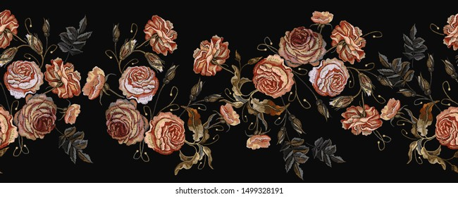 Embroidery vintage buds of roses on black background horizontal seamless pattern. Fashionable template for design of clothes, t-shirt design, tapestry flowers renaissance style