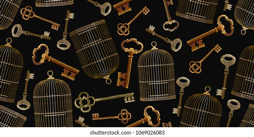 Embroidery vintage keys and golden bird's cages seamless pattern. Symbol of love, passion. Gold cages and key pattern. Fashionable clothes, t-shirt design. Clothes, t-shirt textile design template