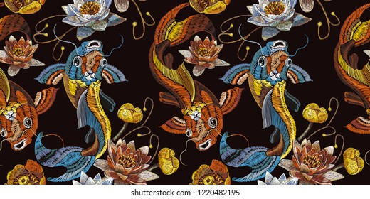 Embroidery vintage koi fish and water lily seamless pattern, japanese art. Classical embroidery koi carp, pink and white lotuses and water lilies, template fashionable clothes, t-shirt design