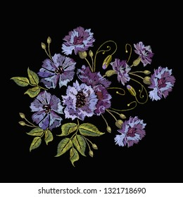Embroidery violet flowers bells. Fashionable template, design of clothes. Beautiful cornflowers