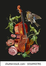Embroidery violin, birds and roses flowers. Classical embroidery musical violin, titmouse, buds of flowers roses. Fashion music art, template for clothes, t-shirt design art