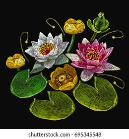 Embroidery water lily flowers. Classical embroidery lotus and water lilies, template fashionable clothes, t-shirt design, print art