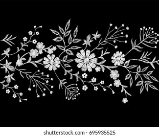 Embroidery white lace border floral border small branches herb leaf with little blue violet flower daisy chamomile. Ornate traditional folk fashion patch design background vector illustration