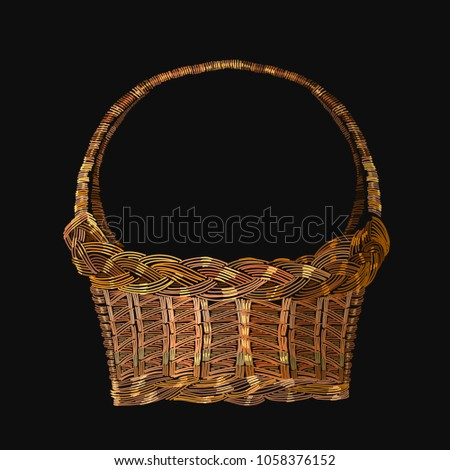 embroidery wicker basket template clothes textiles stock vector