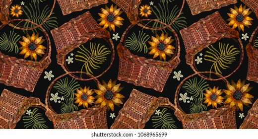 Embroidery wicker baskets and sunflowers. Template for clothes, textiles, t-shirt design. Garden background