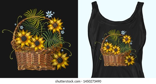 Embroidery wicker baskets and sunflowers. Trendy apparel design. Template for fashionable clothes, modern print for t-shirts, apparel art