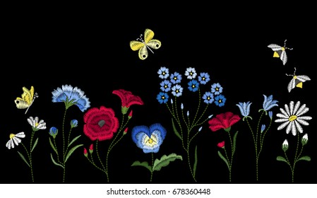Embroidery wild flowers. Embroidered design elements with flowers, leaves and insects on black background.