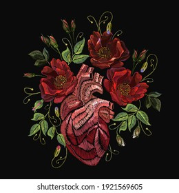 Embroidery wild roses flowers and anatomical heart. Fashionable template tapestry, clothes design. Renaissance style