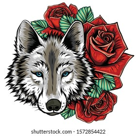 Embroidery of wolf and roses. Needlework patch of romantic animal sign on white background.