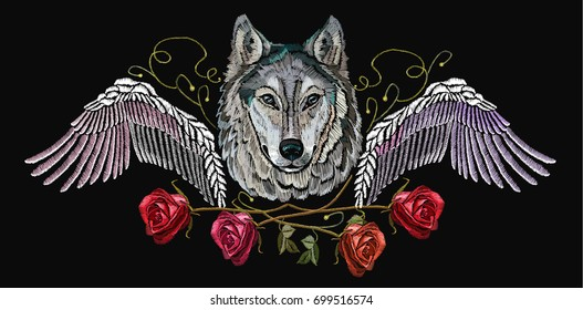 Embroidery wolf, wings and roses. Fashion modern wolf  head red roses and wings, rock print for clothes, textiles, t-shirt design