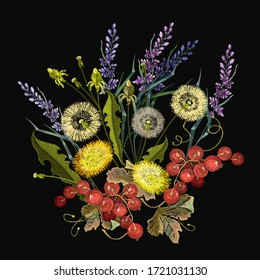 Embroidery. Yellow and white dandelions, lavender flowers and red currant berries. Summer and spring floral art. Fashion template for clothes, t-shirt design