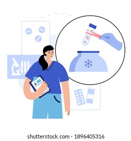 Embryo cryopreservation concept. Artificial insemination and pregnancy. Doctor in laboratory. Human blastocyst icon. Genetic and medical poster for clinic. IVF technology. Flat vector illustration.