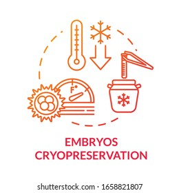 Embryos cryopreservation red concept icon. IVF clinical procedure. Infertility treatment. Reproductive technology idea thin line illustration. Vector isolated outline RGB color drawing