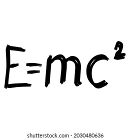 E=MC2 drawing on white background, vector illustration
