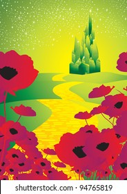 emerald city with poppies