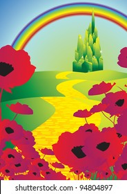 emerald city and poppies and rainbow