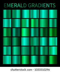 Emerald gradients collection for design. Collection of shiny green gradient illustrations for backgrounds, cover, frame, ribbon, banner, label, flyer, card, poster etc.
