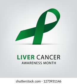 Emerald green color ribbon for liver cancer awareness. healthcare and medicine concept. Vector illustration.