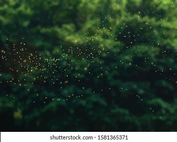 Emerald greenery forest foliage vector background. Green garden trees blurred. Summer leaves unfocused card texture with gold glitter. Nature weekend. Rustic style. Elegant outdoor party template.
