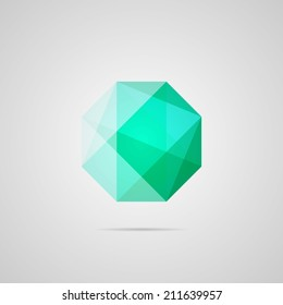 Emerald illustration. Octagon. Green gem multiply icon. Bright gemstone, with shadow. Use for card, poster, brochure, banner, web. Easy to edit. Vector illustration - EPS10.