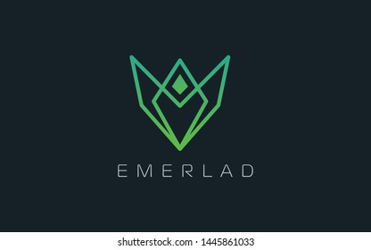 Emerald logo formed with simple line in modern shape