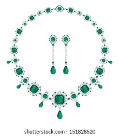 Emerald necklace and matching earrings