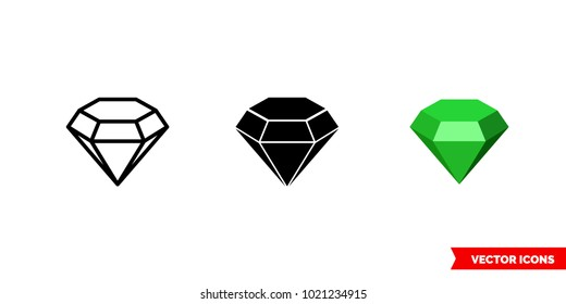 Emerald symbol icon of 3 types: color, black and white, outline. Isolated vector sign symbol.