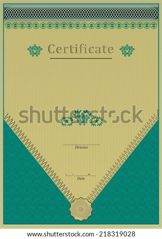 Emerald Green Gold Certificate Diploma Background See