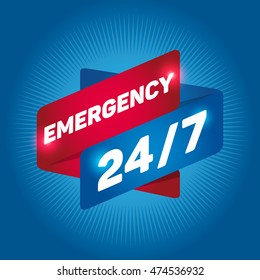 EMERGENCY 24/7 arrow tag sign.