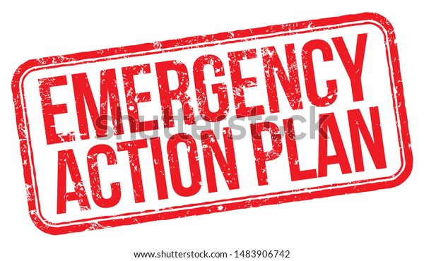 Emergency Action Plan. Red Rubber Stamp.