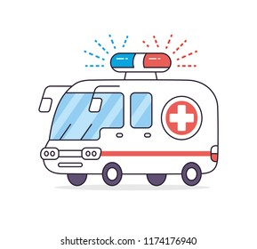 Emergency ambulance car vector isolated