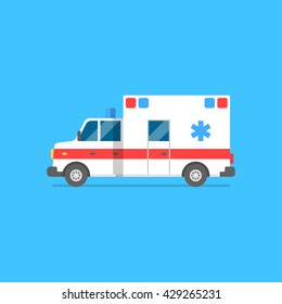 Emergency ambulance vector illustration. Medical vehicle. Ambulance car in flat style