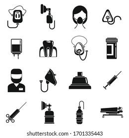 Emergency anesthesia icons set. Simple set of emergency anesthesia vector icons for web design on white background