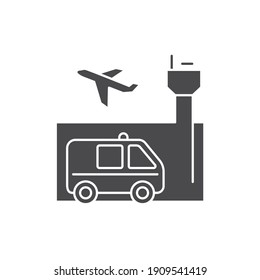 Emergency assistance at airport black glyph icon. Safe travel. Pictogram for web, mobile app, promo.