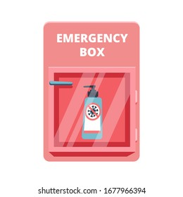 Emergency box with sanitized gel in red case of breakable glass. Shortage Coronavirus Phenomenon concept. COVID-19 protection. Vector illustration. Isolated on white background